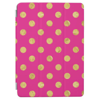 Elegant Gold Foil Polka Dot Pattern - Gold & Pink iPad Air Cover