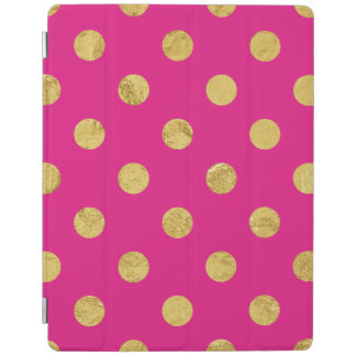 Elegant Gold Foil Polka Dot Pattern - Gold & Pink iPad Cover