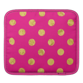 Elegant Gold Foil Polka Dot Pattern - Gold & Pink iPad Sleeve