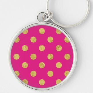 Elegant Gold Foil Polka Dot Pattern - Gold & Pink Keychain