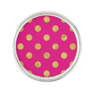 Elegant Gold Foil Polka Dot Pattern - Gold & Pink Lapel Pin