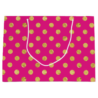 Elegant Gold Foil Polka Dot Pattern - Gold & Pink Large Gift Bag