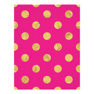 Elegant Gold Foil Polka Dot Pattern - Gold & Pink Letterhead