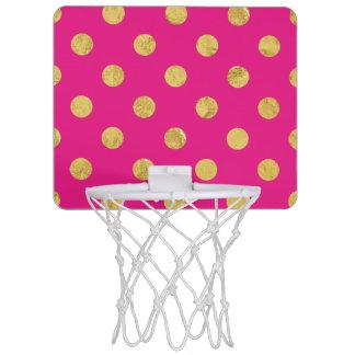 Elegant Gold Foil Polka Dot Pattern - Gold & Pink Mini Basketball Hoop