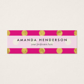 Elegant Gold Foil Polka Dot Pattern - Gold & Pink Mini Business Card