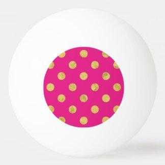 Elegant Gold Foil Polka Dot Pattern - Gold & Pink Ping Pong Ball