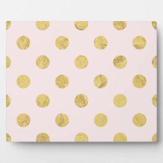Elegant Gold Foil Polka Dot Pattern - Gold & Pink Plaque