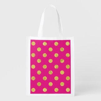 Elegant Gold Foil Polka Dot Pattern - Gold & Pink Reusable Grocery Bag