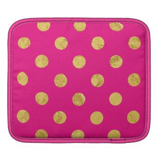 Elegant Gold Foil Polka Dot Pattern - Gold & Pink Sleeves For iPads