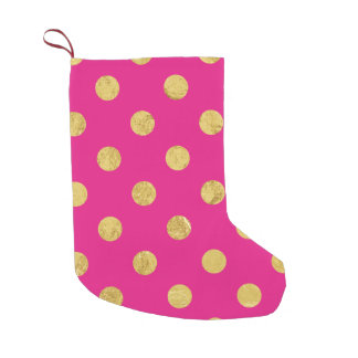 Elegant Gold Foil Polka Dot Pattern - Gold & Pink Small Christmas Stocking