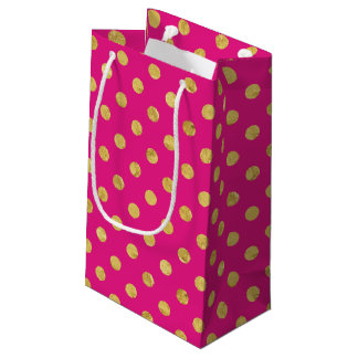 Elegant Gold Foil Polka Dot Pattern - Gold & Pink Small Gift Bag