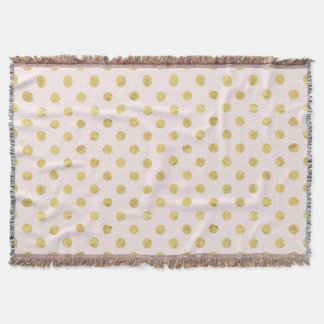 Elegant Gold Foil Polka Dot Pattern - Gold & Pink Throw Blanket