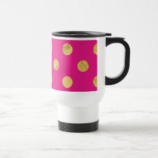 Elegant Gold Foil Polka Dot Pattern - Gold & Pink Travel Mug