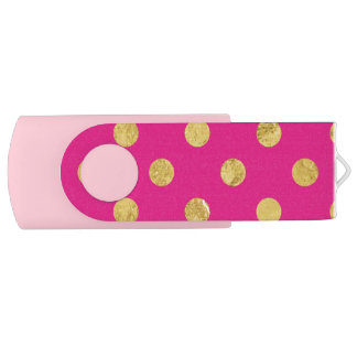 Elegant Gold Foil Polka Dot Pattern - Gold & Pink USB Flash Drive