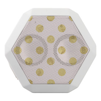 Elegant Gold Foil Polka Dot Pattern - Gold & Pink White Bluetooth Speaker