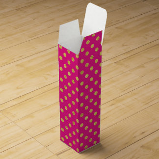 Elegant Gold Foil Polka Dot Pattern - Gold & Pink Wine Box