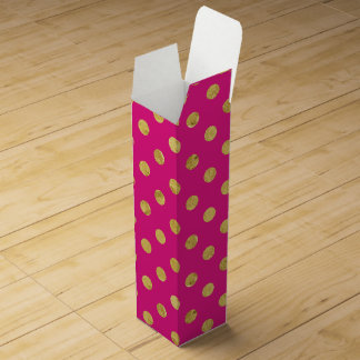 Elegant Gold Foil Polka Dot Pattern - Gold & Pink Wine Gift Box