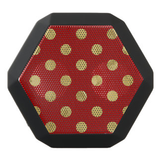 Elegant Gold Foil Polka Dot Pattern - Gold & Red Black Bluetooth Speaker