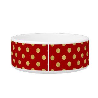 Elegant Gold Foil Polka Dot Pattern - Gold & Red Bowl