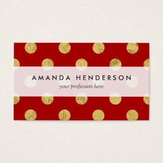 Elegant Gold Foil Polka Dot Pattern - Gold & Red Business Card