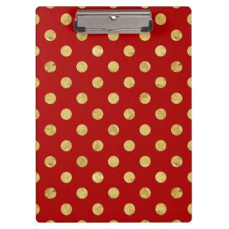 Elegant Gold Foil Polka Dot Pattern - Gold & Red Clipboard