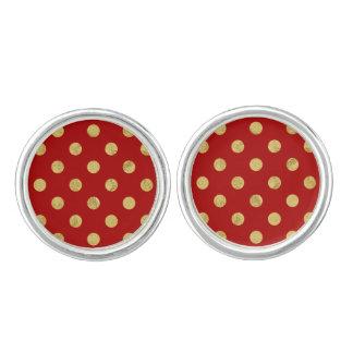 Elegant Gold Foil Polka Dot Pattern - Gold & Red Cufflinks