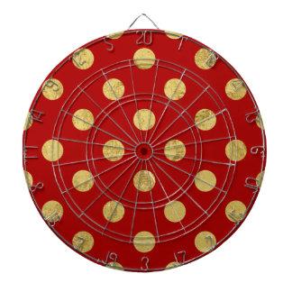 Elegant Gold Foil Polka Dot Pattern - Gold & Red Dartboard