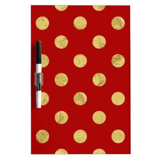 Elegant Gold Foil Polka Dot Pattern - Gold & Red Dry Erase Board
