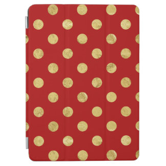 Elegant Gold Foil Polka Dot Pattern - Gold & Red iPad Air Cover