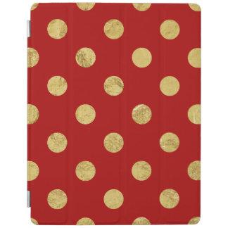 Elegant Gold Foil Polka Dot Pattern - Gold & Red iPad Cover