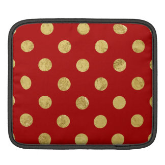 Elegant Gold Foil Polka Dot Pattern - Gold & Red iPad Sleeve