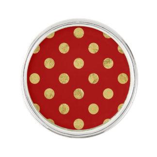 Elegant Gold Foil Polka Dot Pattern - Gold & Red Lapel Pin