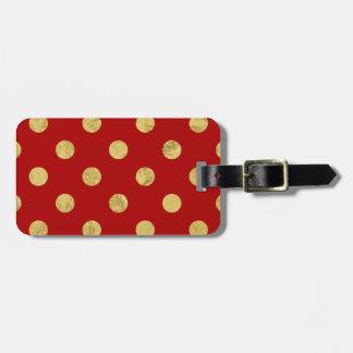 Elegant Gold Foil Polka Dot Pattern - Gold & Red Luggage Tag