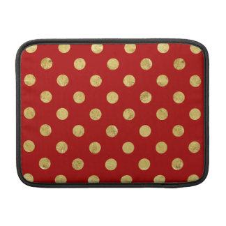 Elegant Gold Foil Polka Dot Pattern - Gold & Red MacBook Sleeve