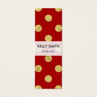 Elegant Gold Foil Polka Dot Pattern - Gold & Red Mini Business Card