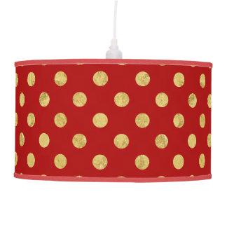 Elegant Gold Foil Polka Dot Pattern - Gold & Red Pendant Lamp