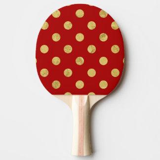 Elegant Gold Foil Polka Dot Pattern - Gold & Red Ping Pong Paddle