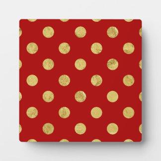 Elegant Gold Foil Polka Dot Pattern - Gold & Red Plaque