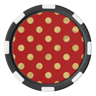 Elegant Gold Foil Polka Dot Pattern - Gold & Red Poker Chips