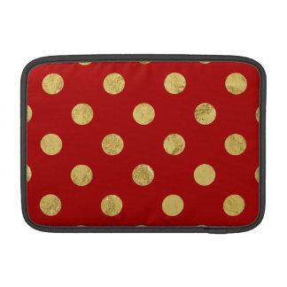 Elegant Gold Foil Polka Dot Pattern - Gold & Red Sleeve For MacBook Air