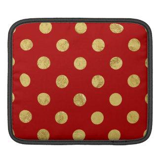 Elegant Gold Foil Polka Dot Pattern - Gold & Red Sleeves For iPads