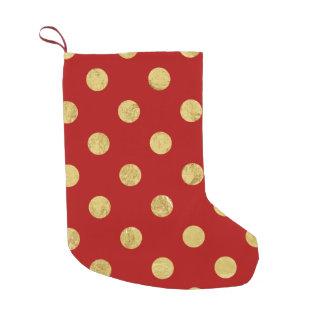Elegant Gold Foil Polka Dot Pattern - Gold & Red Small Christmas Stocking
