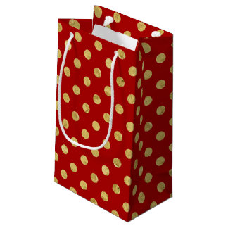 Elegant Gold Foil Polka Dot Pattern - Gold & Red Small Gift Bag