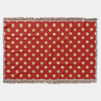 Elegant Gold Foil Polka Dot Pattern - Gold & Red Throw Blanket