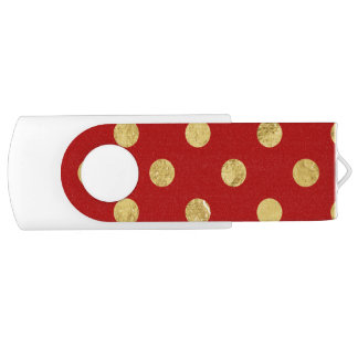 Elegant Gold Foil Polka Dot Pattern - Gold & Red USB Flash Drive