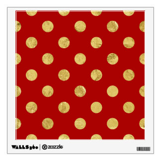 Elegant Gold Foil Polka Dot Pattern - Gold & Red Wall Sticker