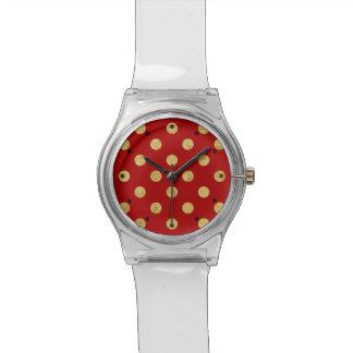 Elegant Gold Foil Polka Dot Pattern - Gold & Red Watch