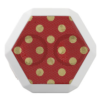 Elegant Gold Foil Polka Dot Pattern - Gold & Red White Bluetooth Speaker