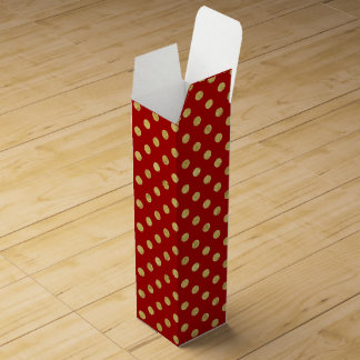 Elegant Gold Foil Polka Dot Pattern - Gold & Red Wine Box