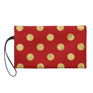 Elegant Gold Foil Polka Dot Pattern - Gold & Red Wristlet